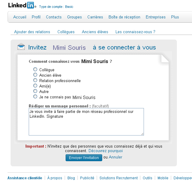 contacts sur linkedin